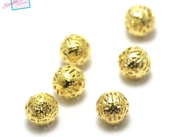 50 round beads filigree 10 mm, gold