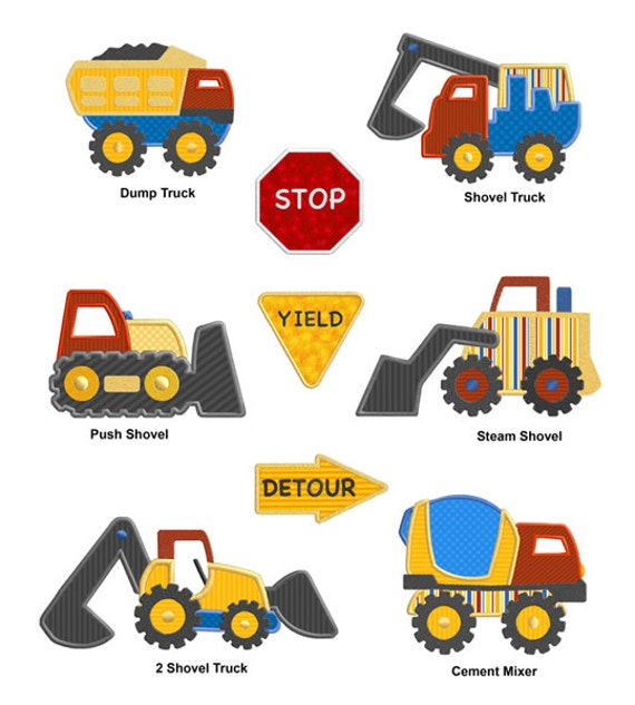 Construction Truck Vehicles APPLIQUE Machine Embroidery Designs From  SewWithLisaB On Etsy Studio