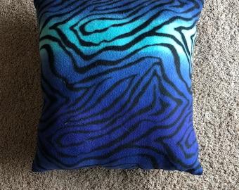 Blue zebra print pillow