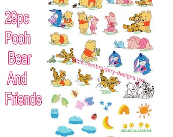 Pooh Bear 29pc Machine Embroidery Designs Baby Pooh and Friends  Disney Embroidery, Eeyore, Tigger, Piglet, Instant Download