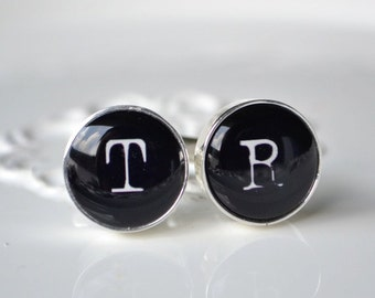Personalized typewriter font initial cufflinks, timeless mens jewelry keepsake gift, classic cuff link accessories