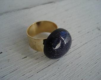 Desert Night Starlit Sky Ring 24K Gold Plated Adjustable Ring Hammered Band