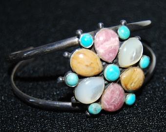 Vintage Barse Sterling Silver Quartz Turquoise Flower Bracelet Cuff Mother of pearl Real Gems