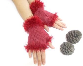 Fingerless Gloves, Burgundy, Red, Hand knit fingerless gloves, Lolita Gloves, Chic, Boho knit glove mittens