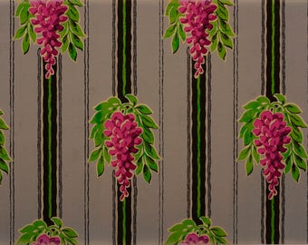 French Original Wallpaper Sample Fuchsia Wisteria Gray Black Stripe 1920s