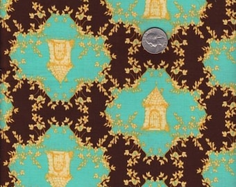 SALE - One yard - Trellis in Chocolate -Tina Givens - Opal Owl cotton quilt fabric, Tina Givens fabric, green fabric, trellis fabric