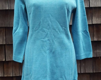 1960's Vintage Knit Polyester Long Sleeve Shift Princess Dress