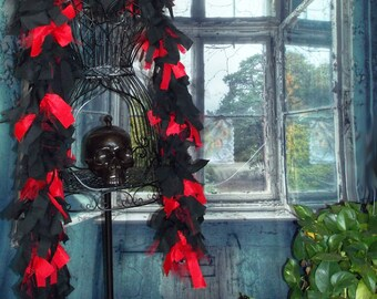 Tattered Fabric Boa // Garland // Gothic, Burlesque, Fetish // Red, Black // Zombiesque Creations #11