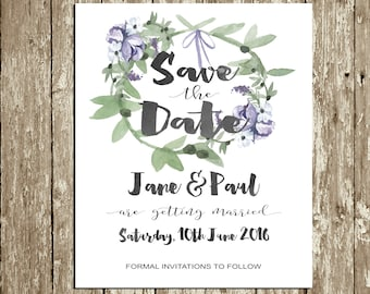 Lilac Save the Date printable Green Floral Save the Date Card Greenery Save the Date Digital Purple Save the Date Lavender Watercolor Wreath