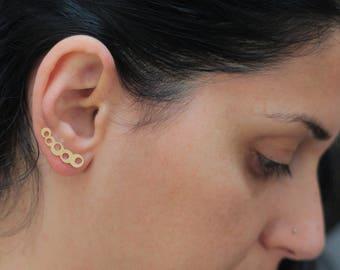Bubble Ear Climber Earrings, Gold Ear Climber, Circles Ear Climber, Gold Ear Cuffs, Bubbles Ear Crawler, Gold Plated Circle Ear Climbers