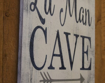 Lil Man Cave Wood Sign Tribal Arrow Nursery Woodland Nursery Boys Nursery Wall Decor Gray And Navy Nursery Baby Gift Distressed Wood