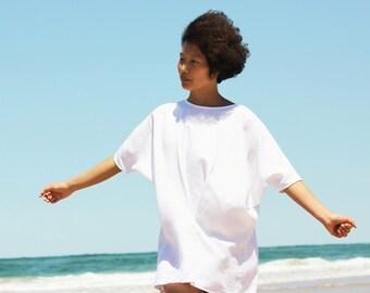 White Linen Dress,Linen Tunic,Linen Midi Dress,Kimono Dress,Shirt Dress,Maternity Dress,Back button dress,Short Sleeve Dress,Casual Dress