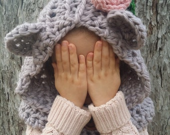 The Bashful Bear Cowl/ Hooded Bear Cowl/Baylie Cowl -- in ethically-sourced fibers