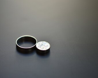 Sterling Silver Ring, Polka Dot, Textured, Circle, Modern, Contemporary, Modernist, Brutalist