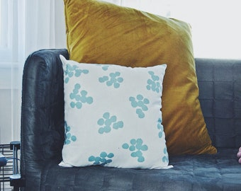 Blue and White Dotted Pillow