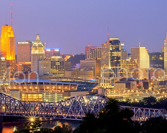 CANVAS Cincinnati Skyline Cincy DUSK Panoramic Photo Print Cityscape Picture
