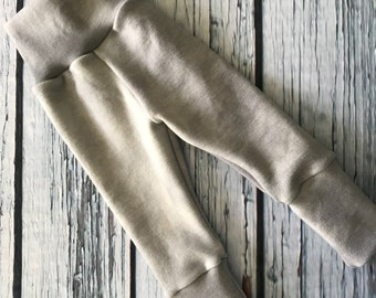 Wool Interlock Longies - Large - Gray - Cuffed - Hand Dyed