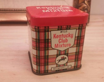 Kentucky Club Mixture Vintage Collectible Smaller Pipe Tobacco Tin in Excellent Condition!