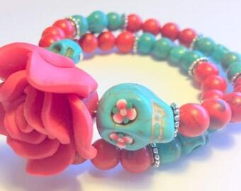 Sugar Skull Bracelet Turquoise and Red Dia De Los Muertos Memory Wire Bracelet