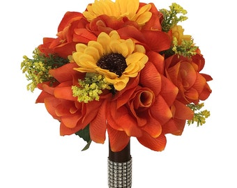 """9"""" Bouquet-Perfect for fall (Pick Ribbon color)-artificial flower"""