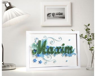 Quilled name for Maxim, Quilling paper monogram, Nursery decor, Original quilled letter, Unique quilling Wall decor, Personalized gift