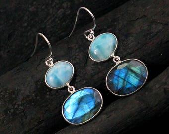 larimar earring,925 silver earrings,Labradorite earrings, woman jewelry,office wear earrings,Mother's gift, Birthday earrings ETER1040