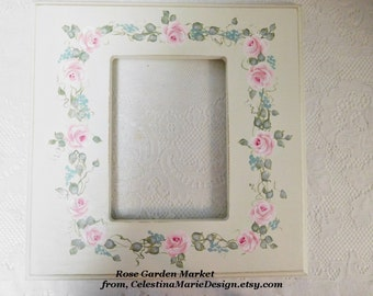 Square Wood Hand Painted Cottage Rose Frame, Wall Decor, Display, Art Grouping, Collectible, ECS
