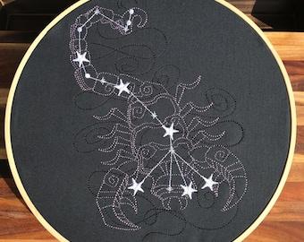 Scorpio Constellation Embroidery Hoop Art