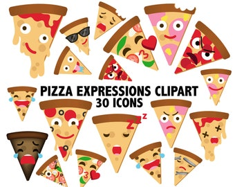 PIZZA EXPRESSIONS CLIPART - pizza clipart, pizza digital art - pizza, pizzas, pizza clip art - pizza emoji - kawaii pizza - Instant Download