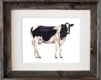 Dairy Cow Watercolor Fine Art Print