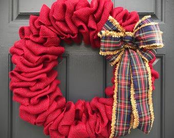 Red Burlap Christmas Wreath, Plaid Bow, Christmas Wreaths, Red Wreaths, Door Wreaths Burlap, Holiday Wreaths, Red Door Decor, Burlap Decor