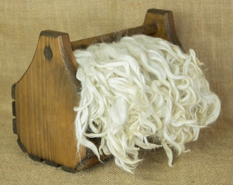 Washed White Suri Alpaca Locks: 1 ounce (Alistair) Fiber for Felting, Spinning or Doll Hair