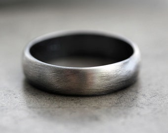 Mens Band, Roughed Up 5mm Low Dome Men's or Women's Unisex Oxidized Recycled Metal Argentium Sterling Silver Ring - Made In Your Size