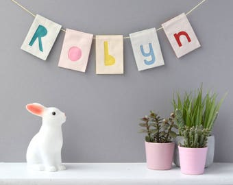 Personalised Bunting, SMALL SIZE, Name garland, Letter bunting, choose your colours, felt bunting, rectangle bunting, nursery decor, wedding