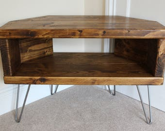 Reclaimed Rustic Wooden Corner Tv Stand Cabinet Unit Solid Steel Hairpin  Legs Industrial Contemporary In Dark Wax