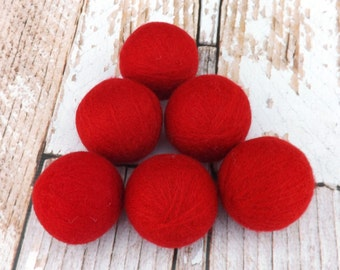 Red Felted Wool Dryer Balls - Felted Wool Laundry Balls - Eco-Friendly Laundry Balls - Chemical Free Laundry - cat toy - Waldorf Toy