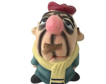Vintage Chalkware French Man Piggy Bank Carnival Prize