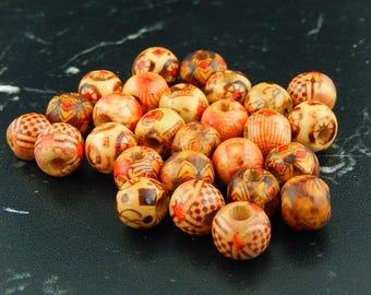 10 Tibetan 243 printed wood beads