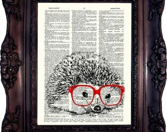 Hedgehog in Nerd Hedgehog Dictionary Art Print Hedgehog Decor Hedgehog Wall Art Hedgehog print on Book page Hedgehog print. Code:346