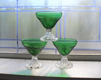 3 Vintage Green Burple Sherbets Anchor Hocking Glass 1950s