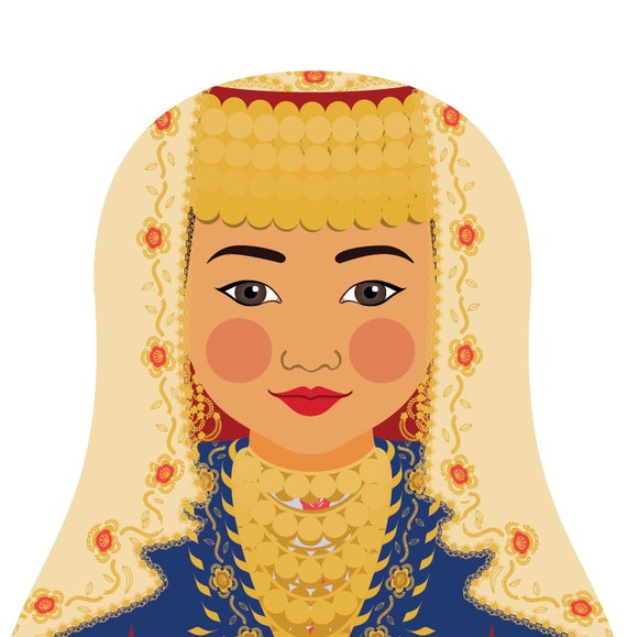 Turk Doll Art Print with traditional folk dress, matryoshka