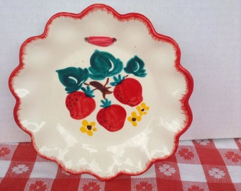 1940s 40s Ceramic Wall Hanging / Scalloped Plate/ Painted Strawberries / Decora Ceramics California