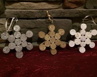 Snowflake Wine Cork Ornaments