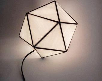 Icosahedron glass light, geometric light, sacred geometry, atmospheric light, lead free.