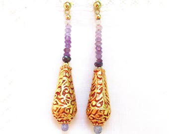 Faceted Ombre Amethyst & Tibetan 22k Gold Plated Bead Earrings - Artisan Handmade Jewelry