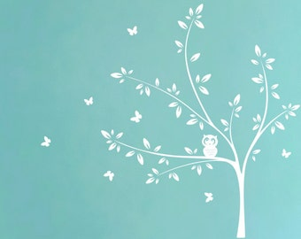 White Tree Wall Decal with Cute Owl and Butterflies Nursery Wall Decal Butterfly Decal  sc 1 st  Etsy & Little owl on moon star decal owl decor owl wall decal stars