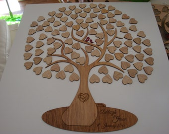 Wooden tree guest leaf or heart book customised