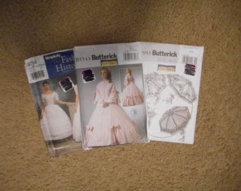 Southern Belle Historical Costume - Everything you need including parasol and hoop skirt