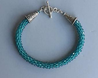 Swarovski Crystal Beaded Bracelet Kumihimo Braid Sterling Silver Artisan Jewelry