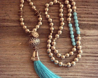 Turquoise Tassel Necklace, Silver Necklace, Pearl Necklace, Long necklace, Boho Necklace, Bohemian Necklace, Indian Necklace, Gypsy Necklace